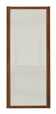 Shaker Sliding Wardrobe Door- WALNUT FRAME- SOFT WHITE  SINGLE PANEL